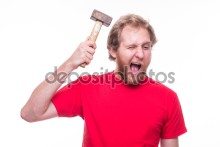 Man banging a hammer on the head